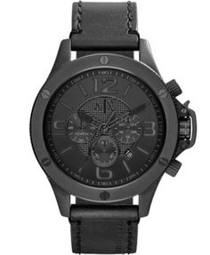 A|X Armani Exchange Men's Chronograph Black Leather Strap Watch 48mm AX1508 | macys.com