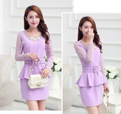 Women's #purple lace cotton design skirt #dress, 2 look in 1 design, hollow chain link fence, tie / belt, round neck, long-sleeved