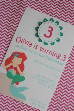 12x Mermaid Invitations with Envelope - Birthday Party. $18.00, via Etsy.