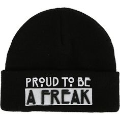 American Horror Story Proud To Be A Freak Watchman Beanie Hot Topic ($11) ❤ liked on Polyvore featuring accessories, hats, american horror story, beanie, black, embroidered hats, beanie cap, embroidered beanie, american hats and beanie hats