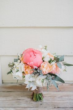 charming pink and white peony, garden rose and lisianthus bouquet with seeded eucalyptus by Out of the Garden