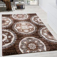Designer Teppich Klassische Kreis Ornamente Braun AUSVERKAUF