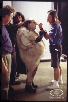 """Danny DeVito becoming The Penguin behind the scenes of """"Batman Returns"""" Directed by Tim Burton Makeup Fx, Movie Makeup, Hugo Weaving, Michael Keaton, Tom Cruise, Sean Connery, 90s Movies, Movie Tv, Movie Props"""