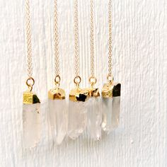 Clear Crystal Quartz Necklace 24K Gold Dipped Jewellery Gold Filled Chain Jewelry Icicle Point Arrow Spike Gemstone