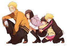 Boruto. Himawari, Hinata, Naruto