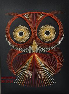 String Art - Owl by Wernakta String Crafts, String Art Patterns, Spirograph, Owl Crafts, Thread Art, Paper Embroidery, Fabric Yarn, Pin Art, Art Techniques