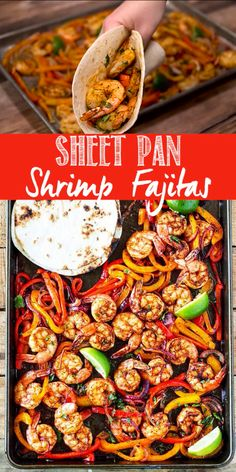 This shrimp fajita recipe is seriously so easy and delicious! All you have to do is scoop the juicy shrimp, tender bell pepper and onions into a soft warm tortilla for a super fast and easy weeknight dinner! dinner recipes for two Sheet Pan Shrimp Fajitas Healthy Dinner Recipes For Weight Loss, Shrimp Recipes For Dinner, Healthy Shrimp Recipes, Dinner Healthy, Shrimp Meals, Lunch Recipes, Healthy Recipes For Dinner, Healthy Shrimp Tacos, Low Carb Shrimp Recipes