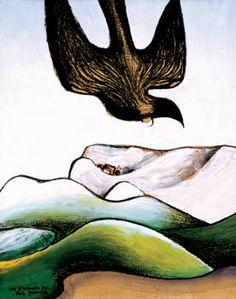 Tui in a Landscape by Don Binney 1964 Rockwell Kent, Maori Art, Australian Art, Modern Landscaping, Sustainable Design, Art Auction, Bird Art, Interior Design Living Room, Art Images