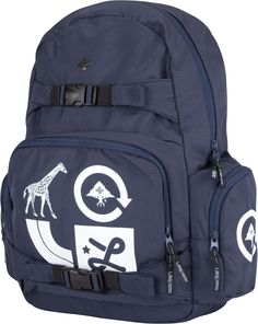 LRG Core Collection Group backpack in navy, includes skateboard buckle straps on front - $49