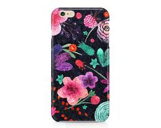 This beautiful phone case features bright and colorful watercolor flowers with a dark blue swirly background. Very girly and pretty!  AVAILABLE