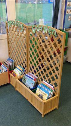 Reading Garden Book Storage - Everything About Kindergarten Reggio Classroom, Classroom Layout, Classroom Organisation, Outdoor Classroom, New Classroom, Classroom Setting, Classroom Design, Classroom Displays, Preschool Classroom
