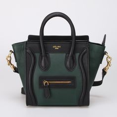 Celine Luggage Green Black Leather Bag http://www.hjbon.com/celine-luggage-green-black-leather-bag-p-990.html