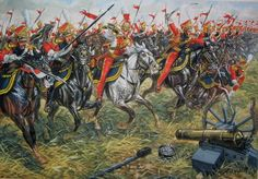 The Red Lancers of the Guard charging at Waterloo