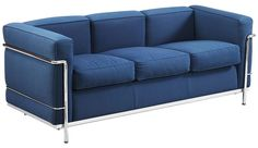 LC2 sofa in steel and blue fabric by LE CORBUSIER from the 2000s. 3 Seater sofa with chrome steel structure, cushions in foam covered by a blue fabric. Manufactured by Cassina, stamp on the steel structure. Very good vintage condition.