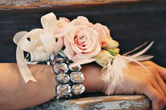 mother of the bride corsage (DIY with dollar store bling bracelet and flowers)