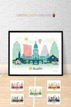Austin Poster print Wall art Texas print by GreenGreenDreams