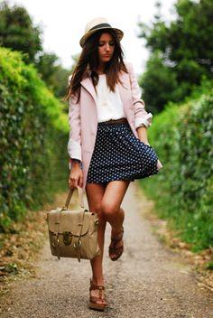 long blazer over short skirt