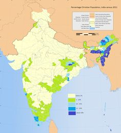 Christians in India, by Bhvintri #map #india