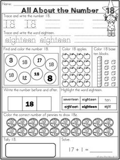 These Number Worksheets 1 - 20 provide your students with practice with each number. They will trace, write the word, color, count, add, plus more! Great fun for kindergarten, first and even second grade students! Use for morning work or even homework!
