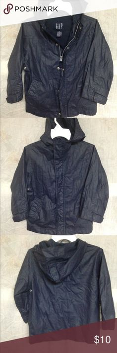 GAP Boys or Girls Raincoat Excellent condition, worn once, size XS/4, navy blue, mess inside, soft vinyl like outside, side pockets, metal zipper and snaps to close, Velcro on bottom of sleeves for tight close around wrists, hood. COMBINE SHIPPING AVAILABLE FOR MULTIPLE ITEMS UP TO 5 LBS FOR SAME FEE. GAP Jackets & Coats Raincoats