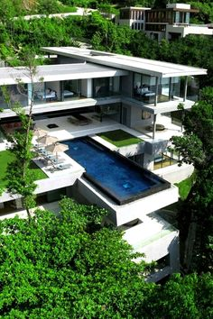Multi level contemporary home with cantilevered swimming pool