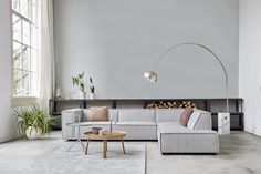 Gray corner sofa of the new Dutch brand: By SIDDE Living Room Sofa, Home Living Room, Grey Corner Sofa, Interior Styling, Interior Design, Scandinavian Living, Beautiful Living Rooms, New Homes, Couch