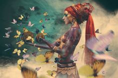 Woman with butterflies, III Tribal Fusion, Cobra Art, Foto Poster, Butterfly Images, Human Art, Paintings I Love, Sculpture, What Is Like, Illustration Art