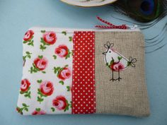 Handmade Shabby Chic Coin Purse Makeup bag, fully lined ..adorable but add a heart instead of chicken?