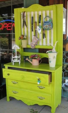 Potting bench ideas from old dresser #home #decor