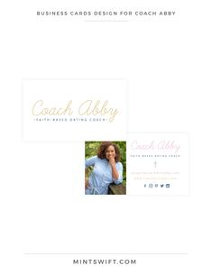 Brand Design for Coach Abby Collateral Design, Brand Identity Design, Branding Design, Logo Design Tips, Business Card Design, Business Cards, Web Design Packages, Facebook Brand, Social Media Branding