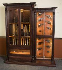 Custom 12 Gun Cherry Knife and Pistol Display | GunSafe - Amish Custom Gun Cabinets - _MG_7400