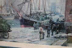 A painting of the Christmas Tree Schooner at the Great Lakes Coast Guard Museum in Two Rivers.  The schooner, with 16 crew members, never reached Chicago. Not until 59 years later was she found in 170 feet of water off Rawley Point, her Christmas trees still stashed in her hold. The schooner remains preserved in the icy waters of Lake Michigan.
