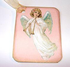 Vintage Inspired Gift Tags Christmas Angel Blowing by SiriusFun, $5.50 #handmadebot #teamdream