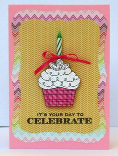 Created using Hero Arts CG151 Happy Birthday Cupcakes stamp set and CL611 Many Birthday Messages
