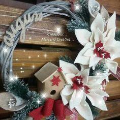 Coccarda 30 cm con stella natalizia bordo'