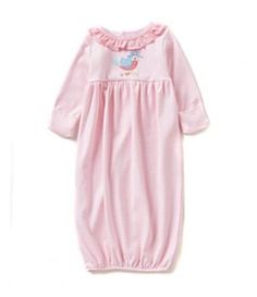 Starting Out 0-6 Months Bird-Applique Striped Gown