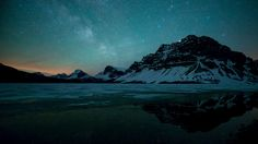 Milky Way over Bow Lake in Canada.