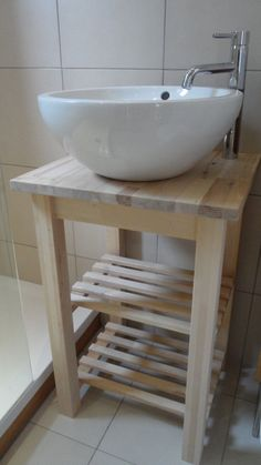 Cloakroom Vanity Unit, Wash Stand for Basin Sink, Heavy Solid Birch Freestanding Cloakroom Vanity Unit, Bathroom Sink Units, Light Fixtures Bathroom Vanity, Rustic Bathroom Vanities, Bathroom Vanity Cabinets, Vanity Units, Bathroom Furniture, Cloakroom Ideas, Free Standing Sink Bathroom