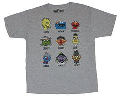 Sesame Street Mens T-Shirt – Heads of Famous Characters Defined http://www.beststreetstyle.com/sesame-street-mens-t-shirt-heads-of-famous-characters-defined/ #fashion   Sesame Street Mens T-Shirt - Heads of Famous Characters Defined This gray 100% cotton tee is perfect for fans of Sesame Street.