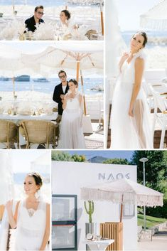 A stunning Greek-inspired Wedding on the French Riviera at Naos Beach in Cap-d'Ail, France. Planner & Stylist: My Riviera Weddings | Venue: Naos Beach | Dress: Geraldine Daulon | Accessories: Made With Love by Natalia | Florist: Ricci Floral Creation | Hair & Makeup: Agnès Doussot | Photographer: Sarah Stefani | Videographer: Christophe Mechineau | Grooms Outfit: 209 Mare