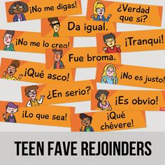 Want students to converse in the target language? Give them phrases that represent the range of typical teenage responses: Gross!, Cool!, It's obvious, I know, right?, and more. Twelve 6 x 22-inch posters. Cardstock. Download the Teen Faves Spanish Rejoinder List located in Additional Info. About the Author Grant Boulanger , 2017 ACTFL National Teacher of the Year Finalist, is a TCI/TPRS teacher reaching each kid through engaging, effective and equitable teachi...