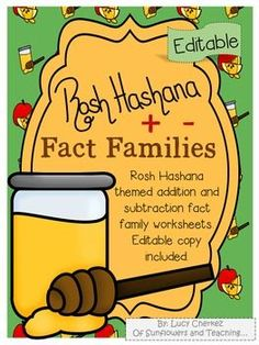 Rosh Hashana is approaching! Here's a great way to introduce students to the holiday and its symbols while they review math facts! This addition and subtraction fact family activity can be utilized in multiple ways.  An editable copy is included for teachers to write in numbers that would suit students at their level. Students will enjoy the cute graphics that are accompanied by quick facts about the holiday of Rosh Hashana.