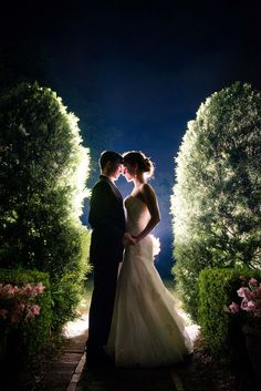 Pretty picture of the bride and groom with background lighting
