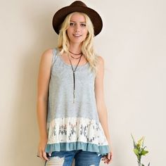 Arriving soon!  lace and ruffle light blue tank! Beautiful color swing tank with lace and ruffled hem! Tops