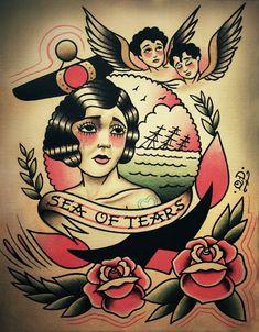 Sea of Tears Tattoo Print. , via Etsy.