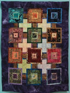 """Wall Quilt """"Easy Stepping Stones"""" by Sharon Pollock """"The original Stepping Stones pattern called for an irregular border which didn't work for me so I 'smoothed it out'. Capital City, Stepping Stones, Quilts, Blanket, The Originals, Wall, Pattern, Stair Risers, Blankets"""
