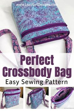 Make the perfect cross body bag for home and on the go. The adjustable shoulder strap to wear crossbody or at the shoulder. Carry all you really need and keep your belongings safe, secure, and tidy with this Lexi Carryall cross-body bag sewing pattern. Adjustable strap. Inside pockets for a small Wonder Wallet and more. #CrossbodyBag #Sewing Easy Sewing Patterns, Bag Patterns To Sew, Handbag Patterns, Sewing Basics, Sewing Hacks, Sewing Diy, Sewing Projects, Lazy Girl Designs, Small Zipper Pouch
