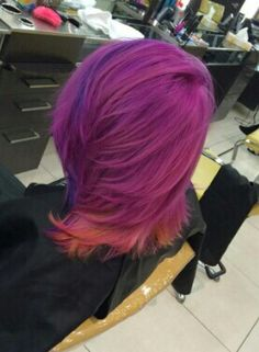 Pink base with indigo around the face and yellow underneath. This might be my favorite Indigo, Cool Hairstyles, Base, Fancy, Long Hair Styles, My Favorite Things, Yellow, Pink, Beauty