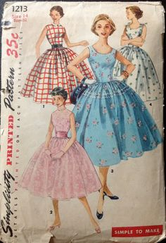 Simplicity 1213 1950s Rockabilly DRESS Pattern Full Skirt Scoop Neck Simple to Sew womens vintage sewing pattern by mbchills
