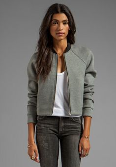 Shop for T by Alexander Wang Jersey Bonded Neoprene Bomber Jacket in Heather Grey at REVOLVE. Hijab Fashion, Girl Fashion, Fashion Dresses, Classy Outfits, Casual Outfits, Look Blazer, Sport Outfit, Alexander Wang, Mode Outfits